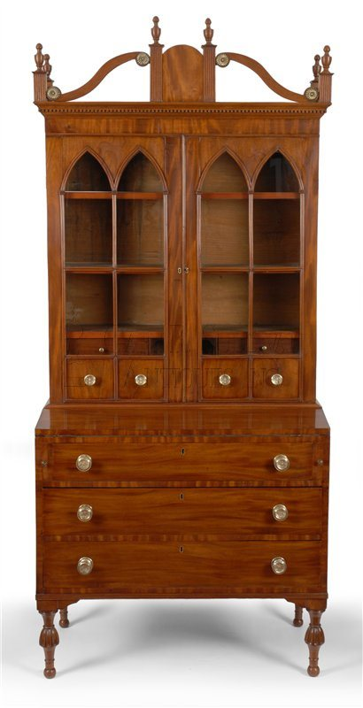antique Sheraton desk and bookcase