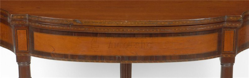 antique Federal five-leg games table detail
