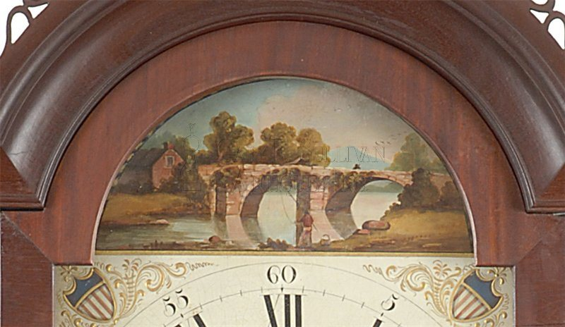 Aaron Willard labeled antique tall case clock detail