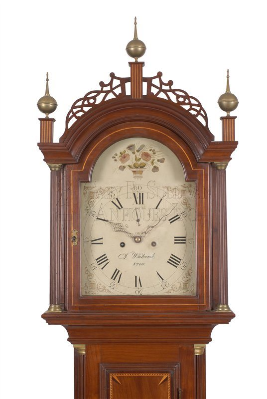 Asaph Whitcomb inlaid antique grandfather clock