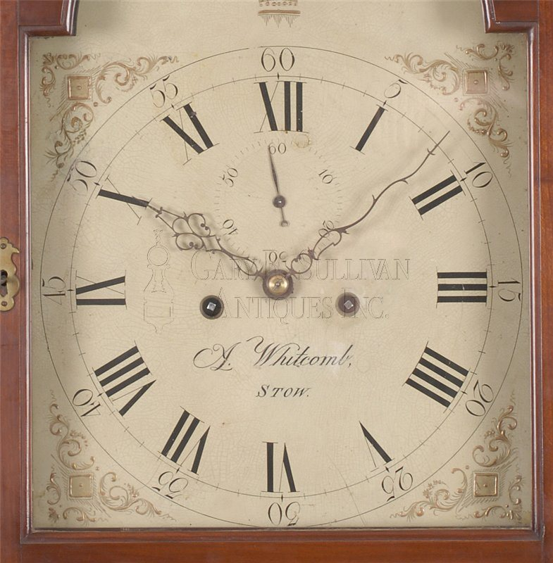 Asaph Whitcomb inlaid antique grandfather clock detail