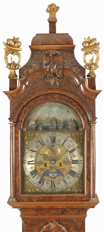 Antique Dutch tall clock hood