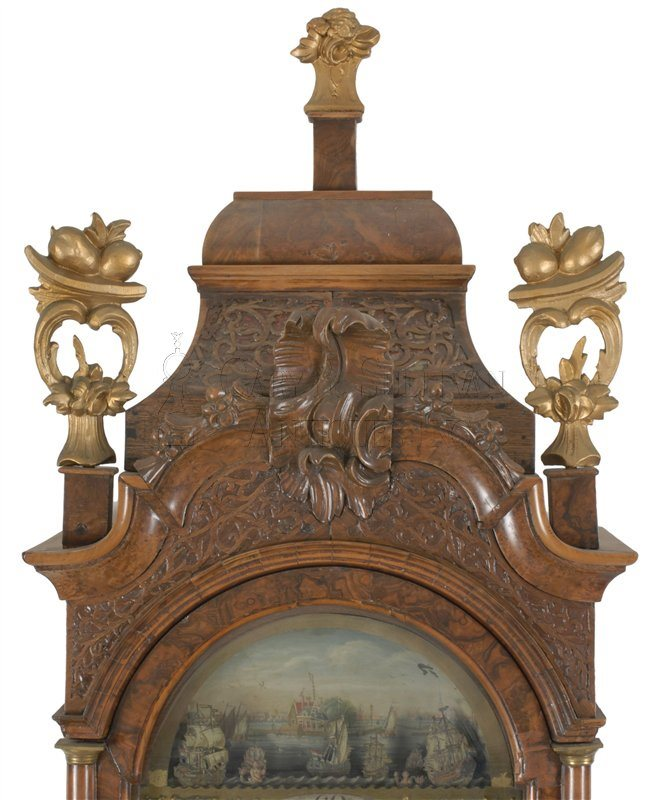 Antique Dutch tall clock detail