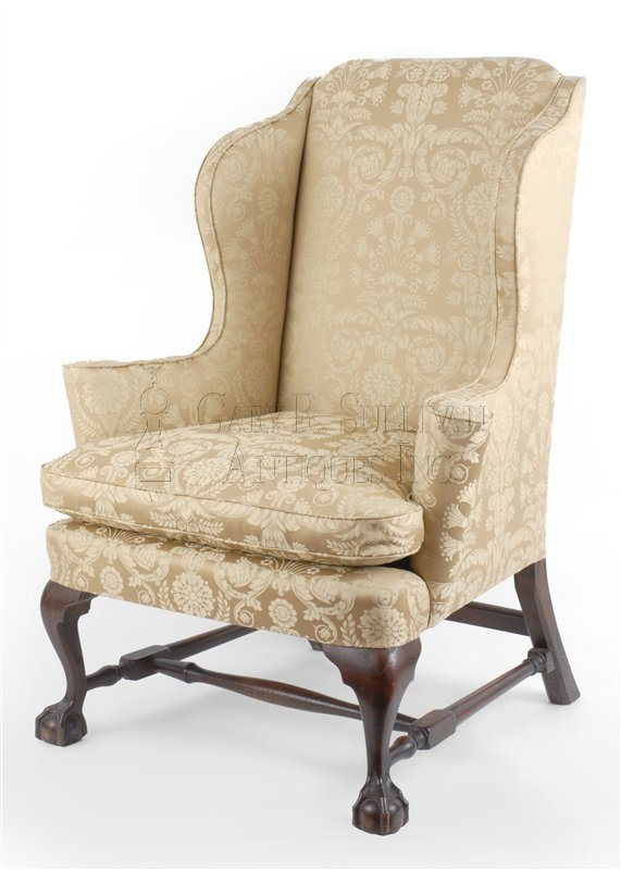 Chippendale wing chair, Boston, Mass