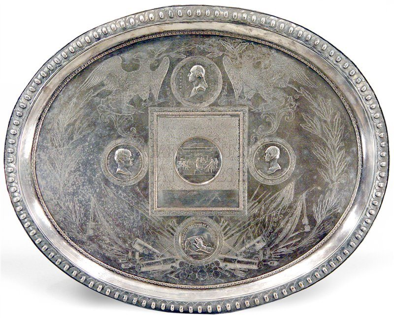 antique commemorative silver tray