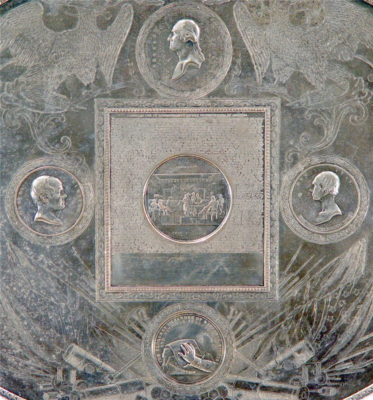 antique commemorative silver tray detail