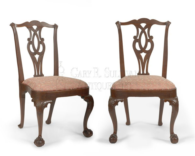 Pair of early Chippendale dining chairs, Boston, Mass