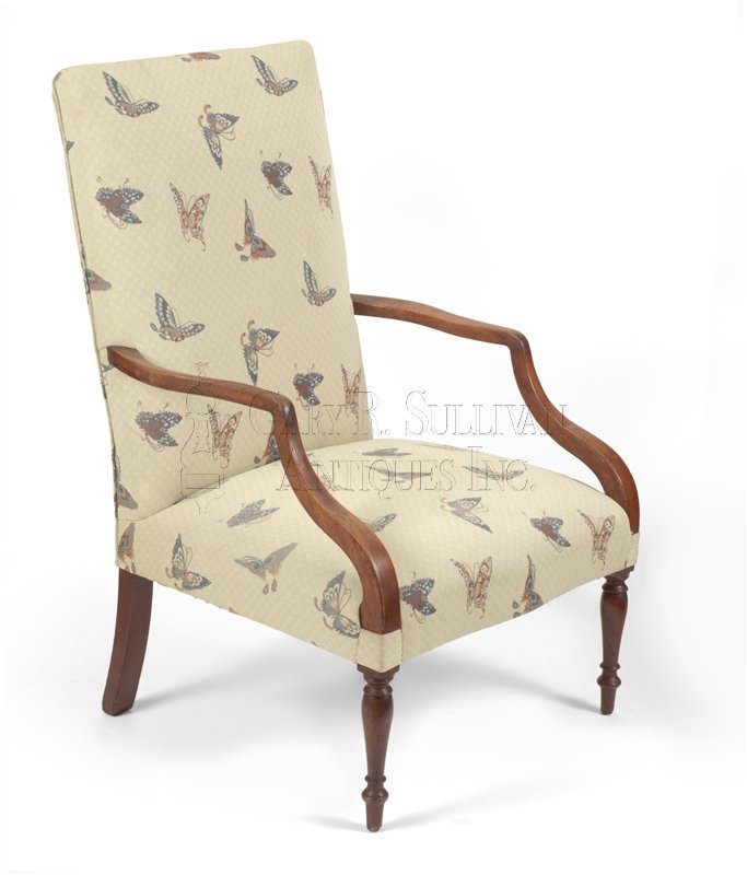 Federal inlaid lolling chair, MA or NH circa 1815