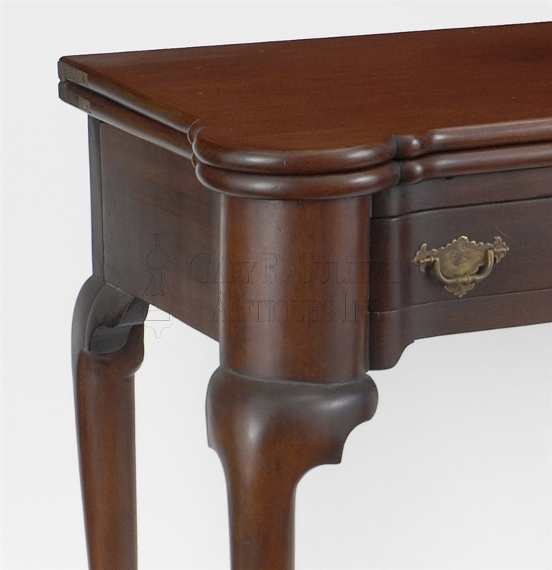 antique Queen Anne games table detail