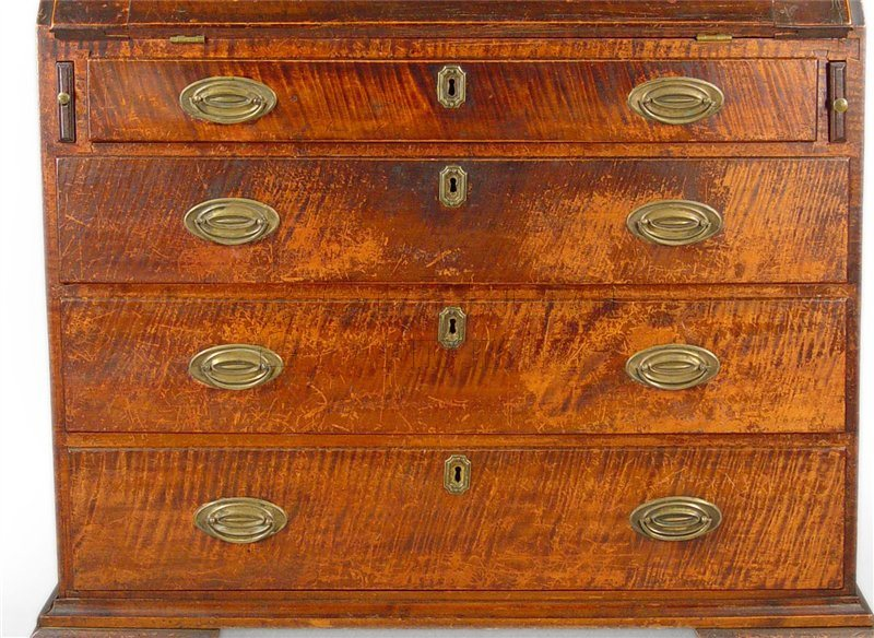 antique slant front desk detail