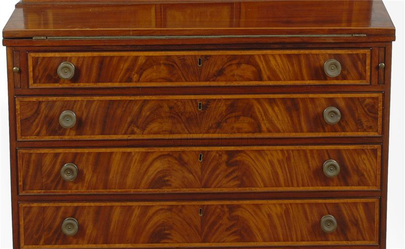 antique Federal secretary desk detail