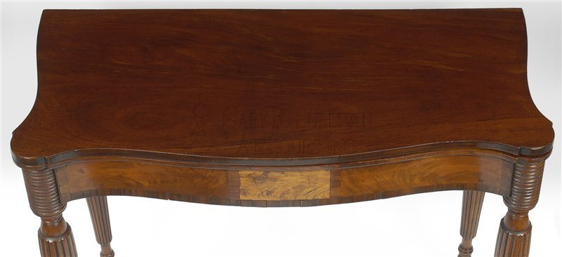 antique Sheraton card table detail