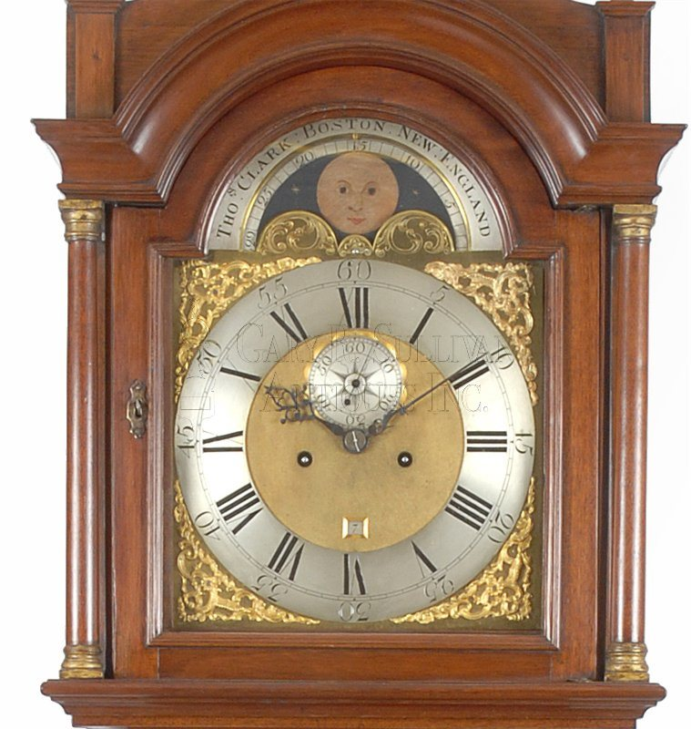 Thomas Clark antique Chippendale tall clock dial