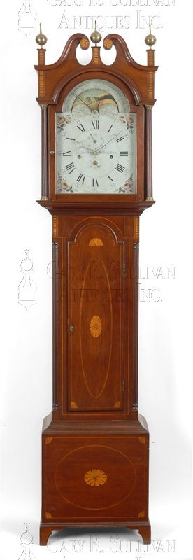 Daniel Porter antique Federal musical tall clock