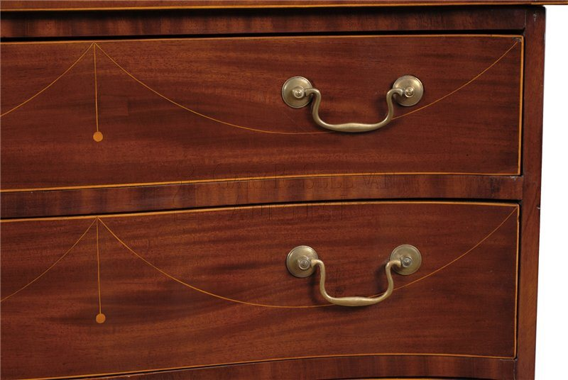 Rawson antique serpentine chest of drawers detail