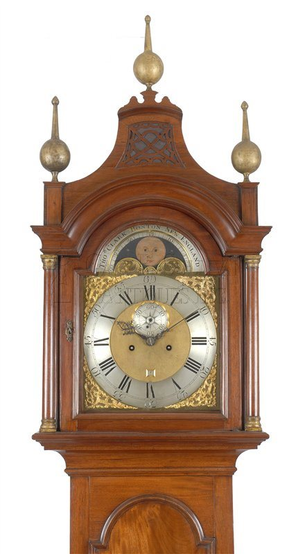 Thomas Clark antique Chippendale tall clock hood