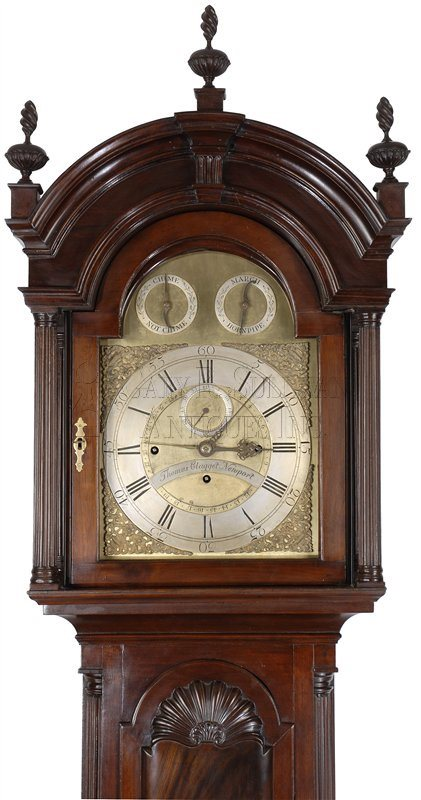 Thomas Claggett Newport antique tall clock hood