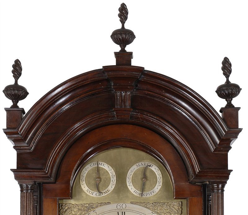 Thomas Claggett Newport antique tall clock detail