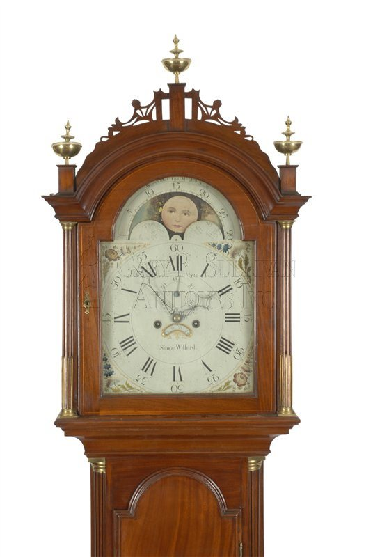Simon Willard antique tall clock hood