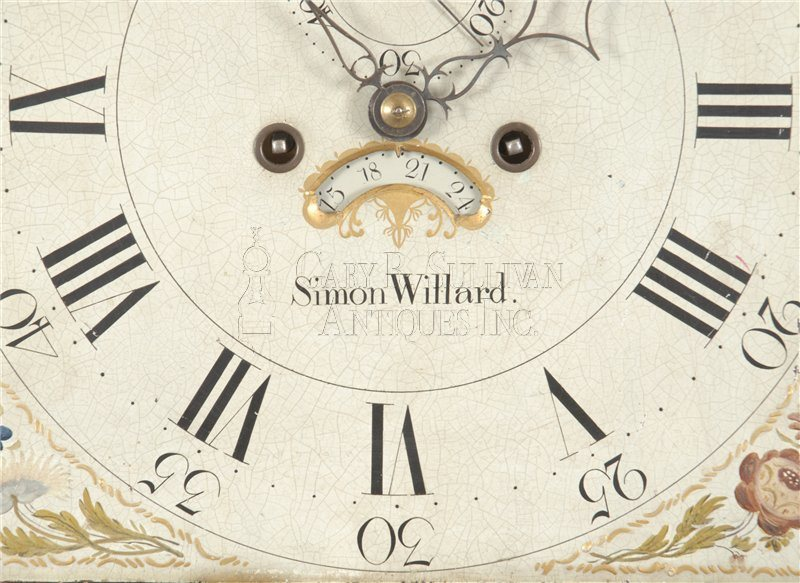Simon Willard antique tall clock detail