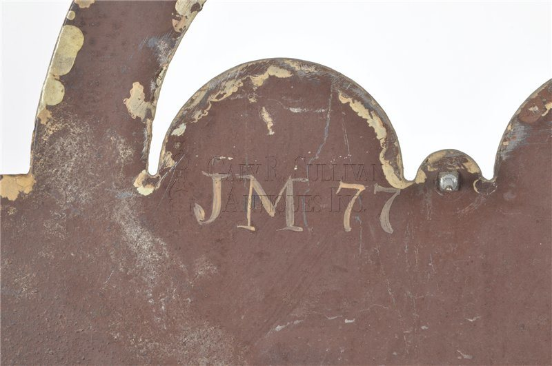 Simon Willard antique tall clock detail Minot initials
