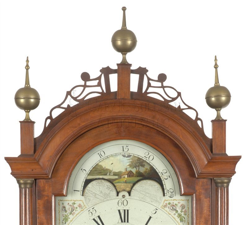 John Bailey Jr. antique tall case clock crest