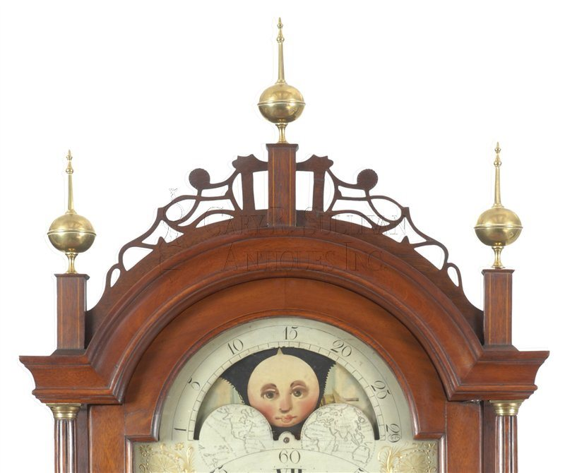 Joshua Wilder antique tall case clock crest