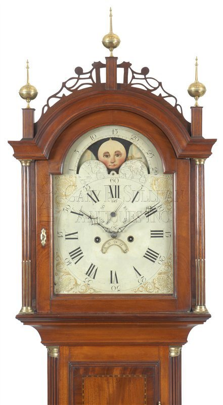 Joshua Wilder antique tall case clock hood