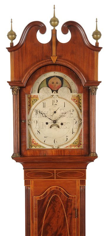 Inlaid New Jersey grandfather clock hood