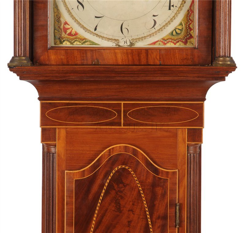 Inlaid New Jersey grandfather clock throat