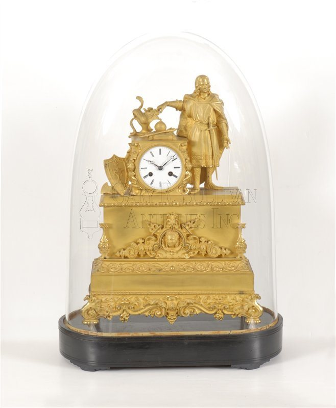 French figural bronze clock with dome