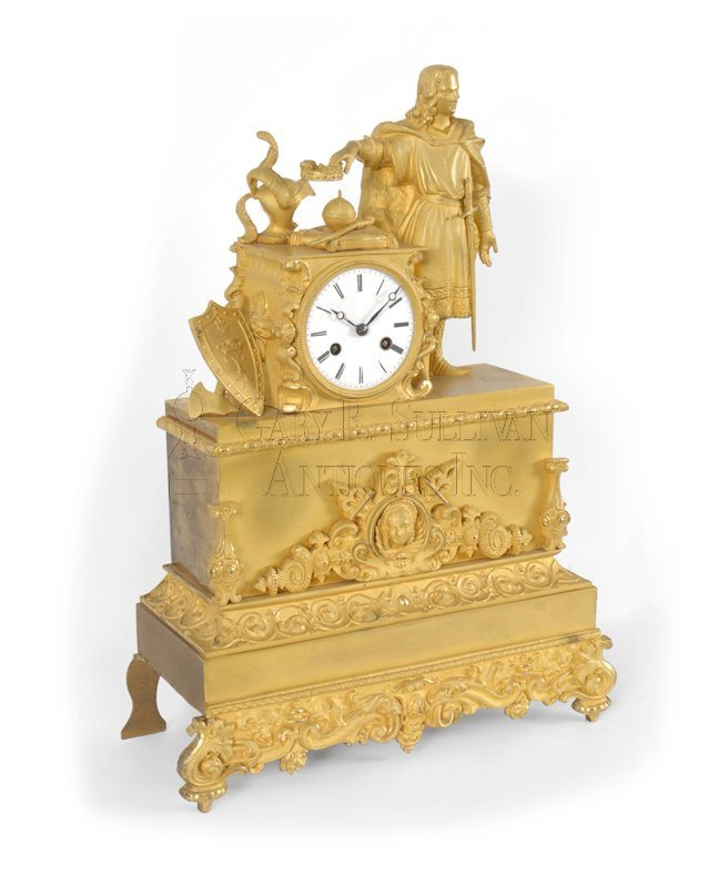 French figural bronze clock