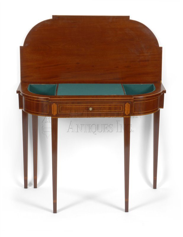 Antique games table with writing desk and drawer open