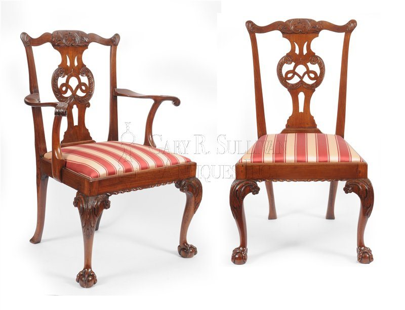 8 Chippendale mahogany dining chairs, (English)