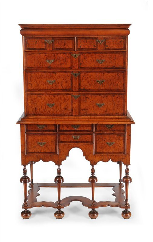 William & Mary walnut highboy (Newport, Rhode Island)