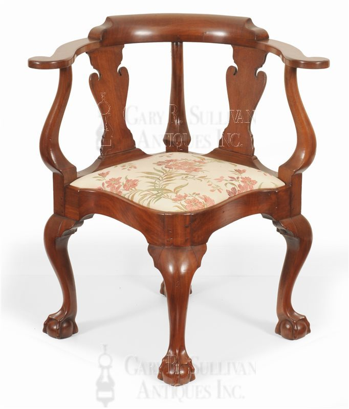 Chippendale walnut corner chair, (New York, NY)