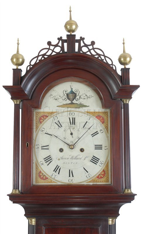 Aaron Willard antique tall clock detail