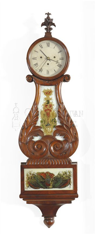 antique lyre clock with alarm