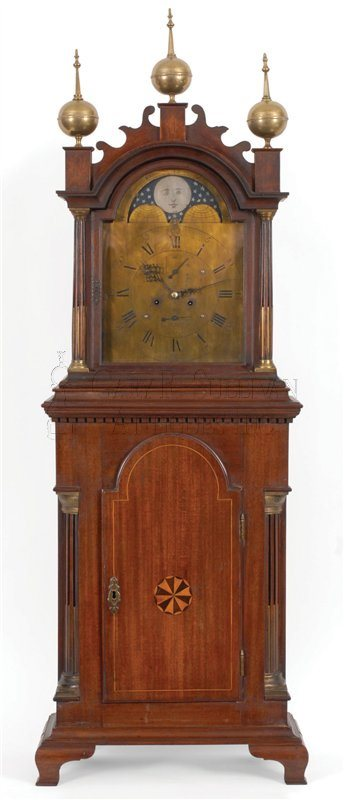 Caleb Leach antique brass dial shelf clock