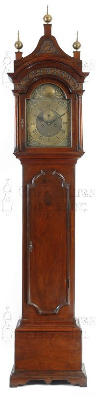 Gawen Brown antique Chippendale tall case clock