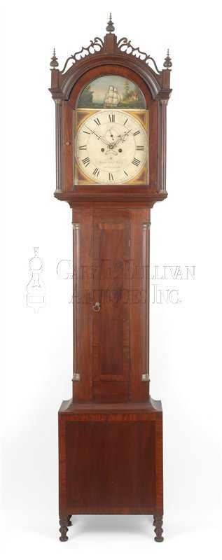 antique rocking ship tall case clock