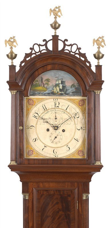 John Bailey Jr. rocking ship antique tall case clock hood