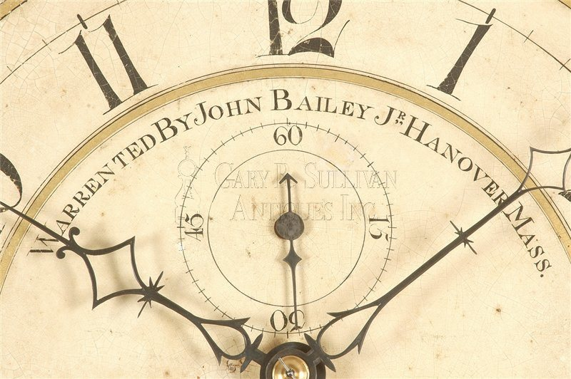 John Bailey Jr. rocking ship antique tall case clock detail