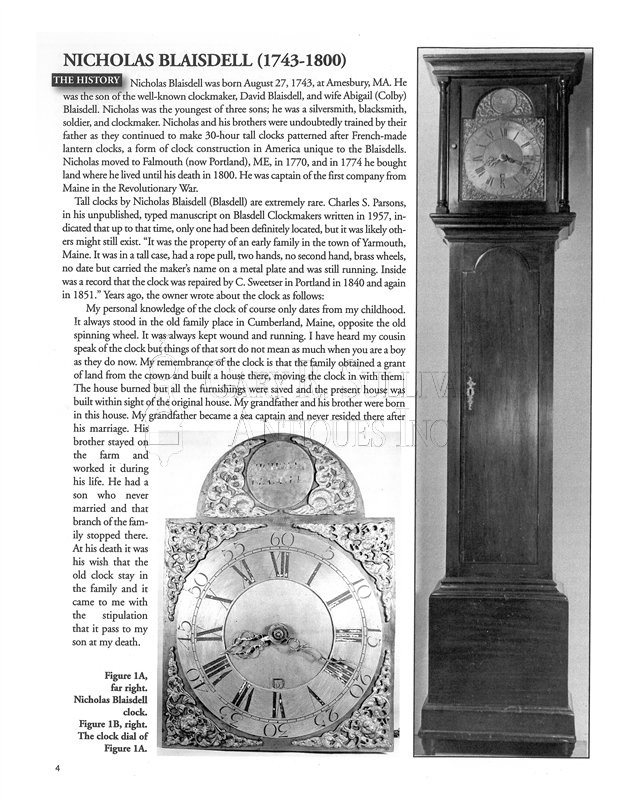 Blasdel early American tall case clock