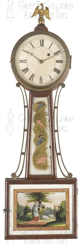 Reuben Tower antique banjo clock