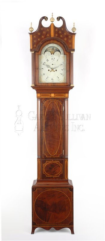 antique inlaid tall case clock