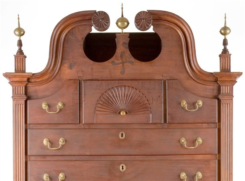 antique Chippendale high chest crest