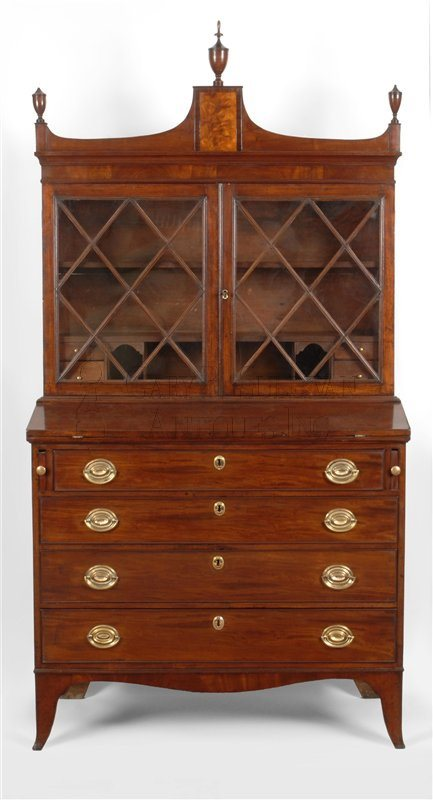 antique Federal desk and bookcase