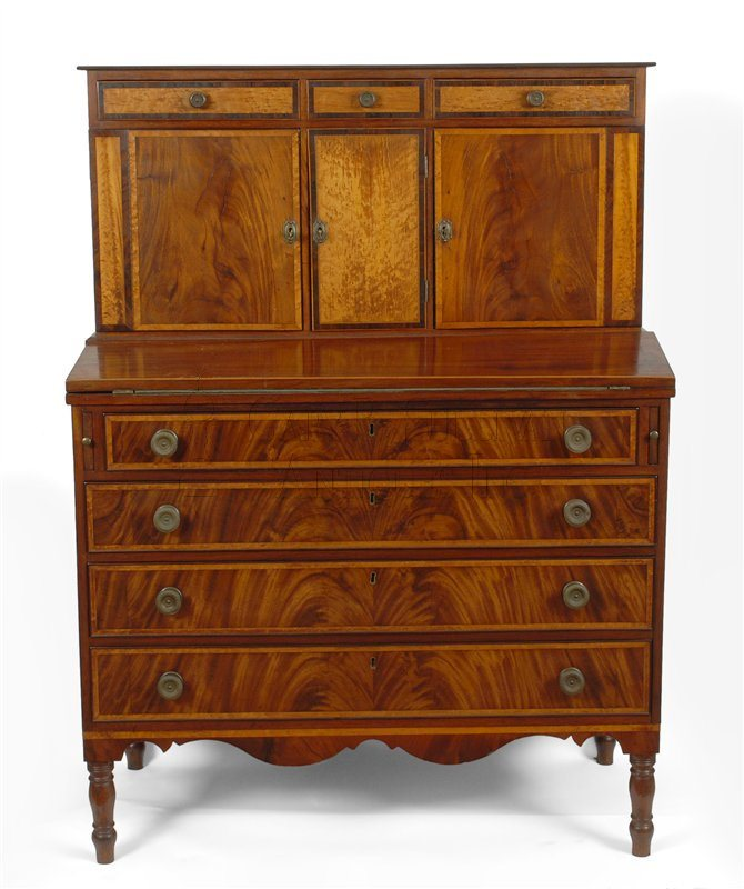 Federal Inlaid Secretary Desk, Southeastern, Mass