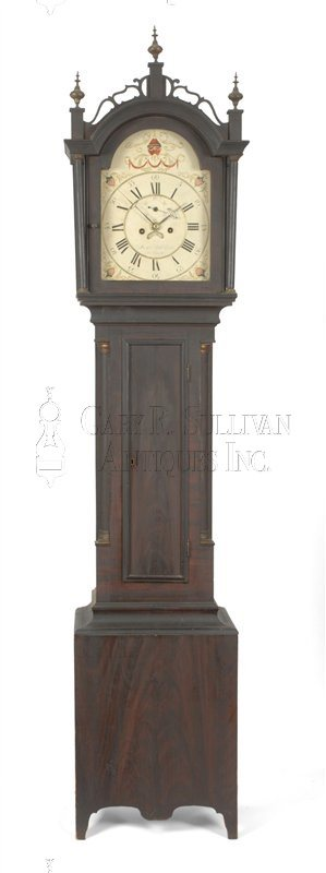 James C. Cole grain painted antique grandfather clock